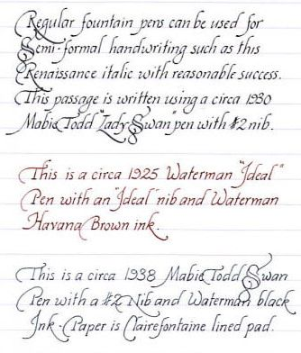Italic handwriting using regular fountain pens hand Ballpoint pen calligraphy