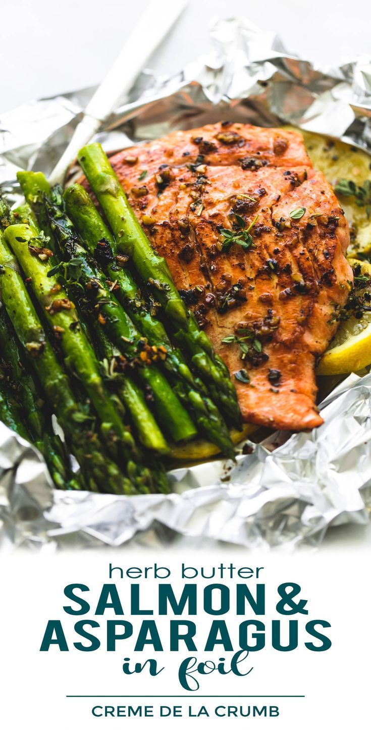 Photo of Herb Butter Salmon and Asparagus Foil Packs | Creme De La Crumb