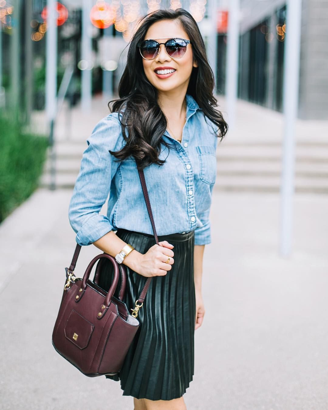 "Color & Chic • Hoang-Kim Cung on Instagram: ""Burgundy, chambray and leather make for one fool-proof fall outfit. This pleated skirt also comes in burgundy and can be styled up or down. http://liketk.it/2pliQ @liketoknow.it #liketkit"