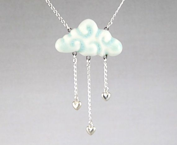 It's Raining Love - porcelain cloud pendant necklace with sterling silver chain and heart charms in aqua