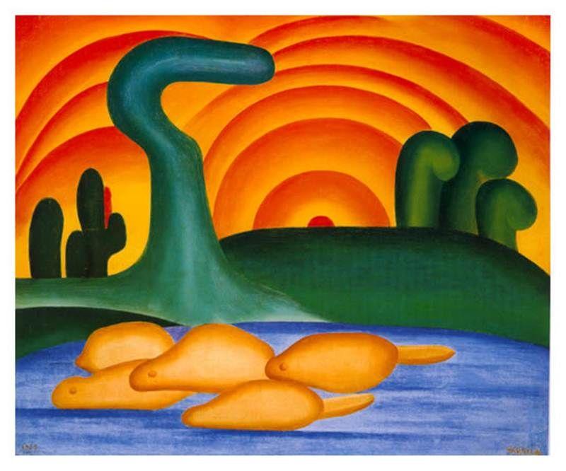 Obras De Tarcila Do Amaral Sol Poente Com Imagens Tarsila Do