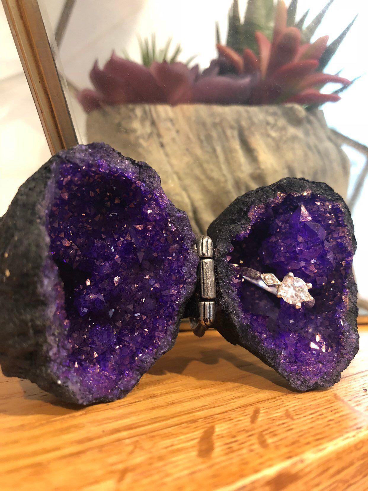 Purple Geode Ring Box Geode Box Proposal Ideas Wedding Ring