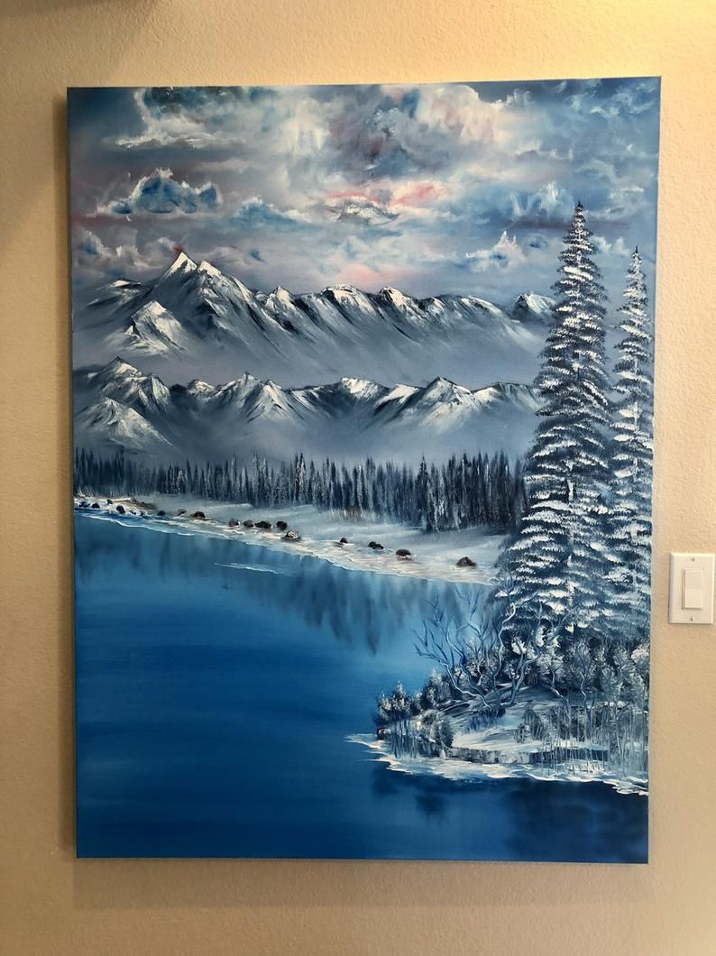 How Much Do Bob Ross Paintings Sell For : paintings, Christie, Luvncrafts, Winter, Handmade, Ocean, Painting,, Large, Painting, Landscape