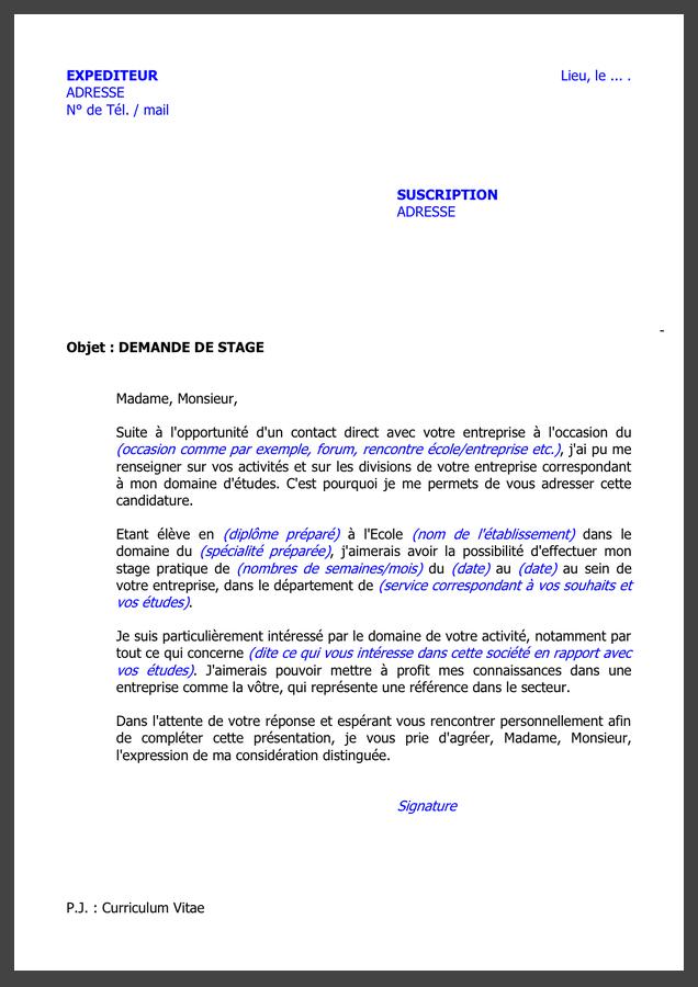 Demande De Stage Profissionnel Pdf Maroc Exemple 2020 en