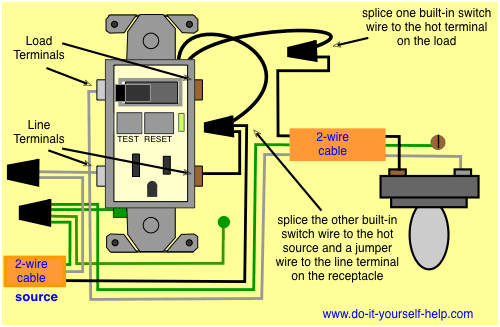 Wiring Diagrams For A Gfci And Switch Combo Gfci Gfci Plug Outlet Wiring