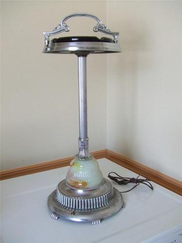 Vintage Art Deco Chrome Floor Ashtray Smoking Stand W