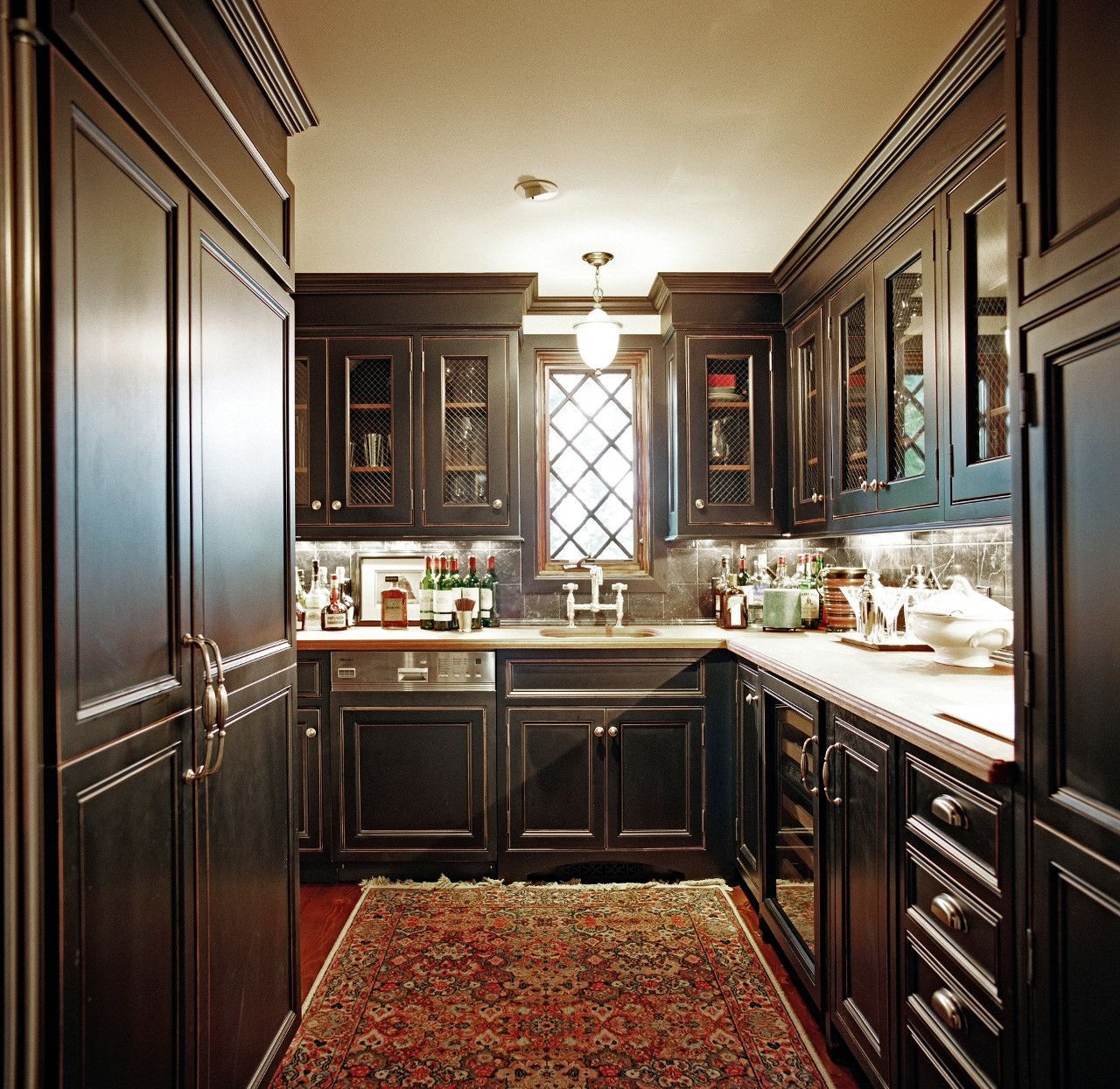 Deep Dark Cabinets Line This Elegant Gold Coast Butler S Pantry