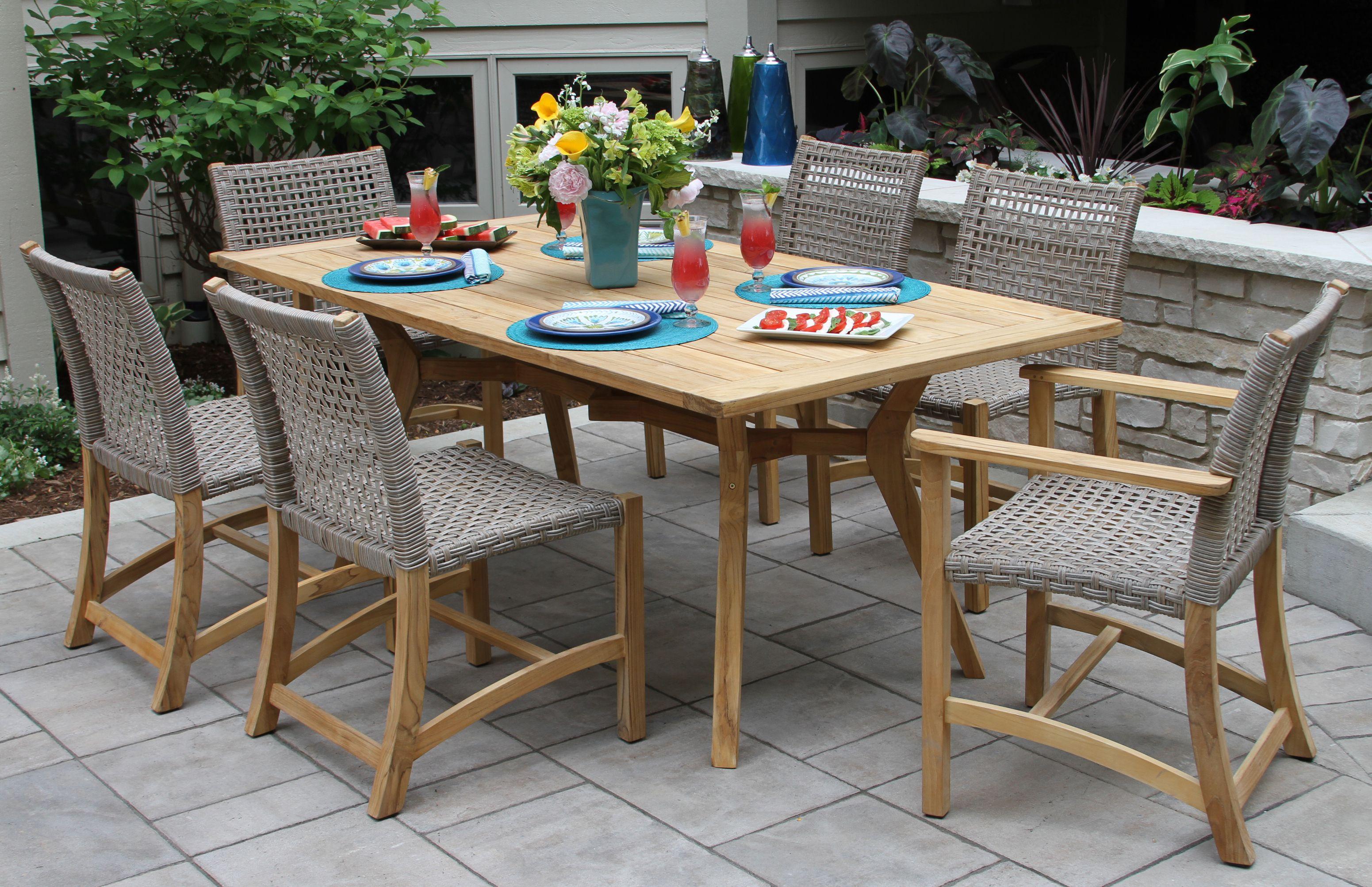 Nautical Teak Hardwood Outdoor Rectangle Dining Table Wicker