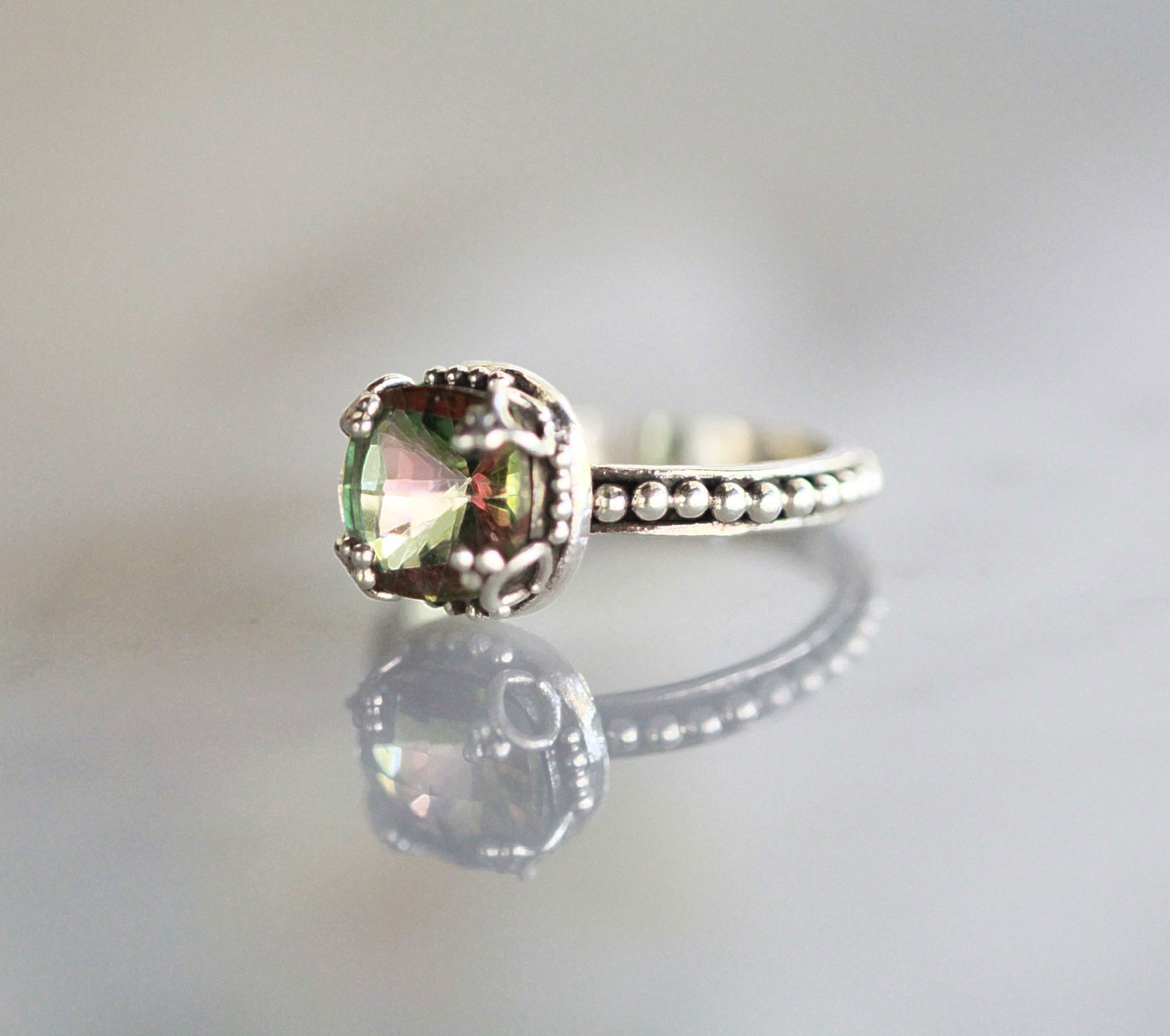 5 38ct Brazilian Mango Magic Mystic Topaz Ring In Solid 925 Sterling Silver