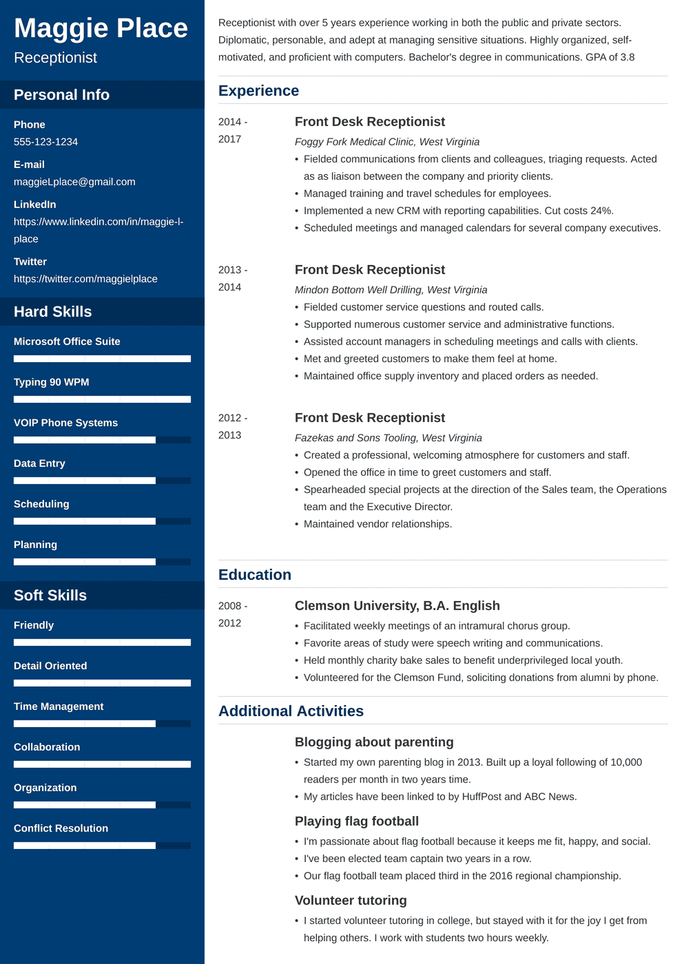 receptionist resume template cascade in 2020 Resume