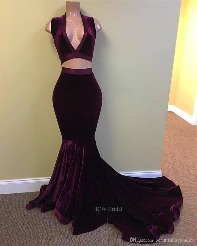 Cheap velvet mermaid prom dresses sleeveless deep v neck sweep train