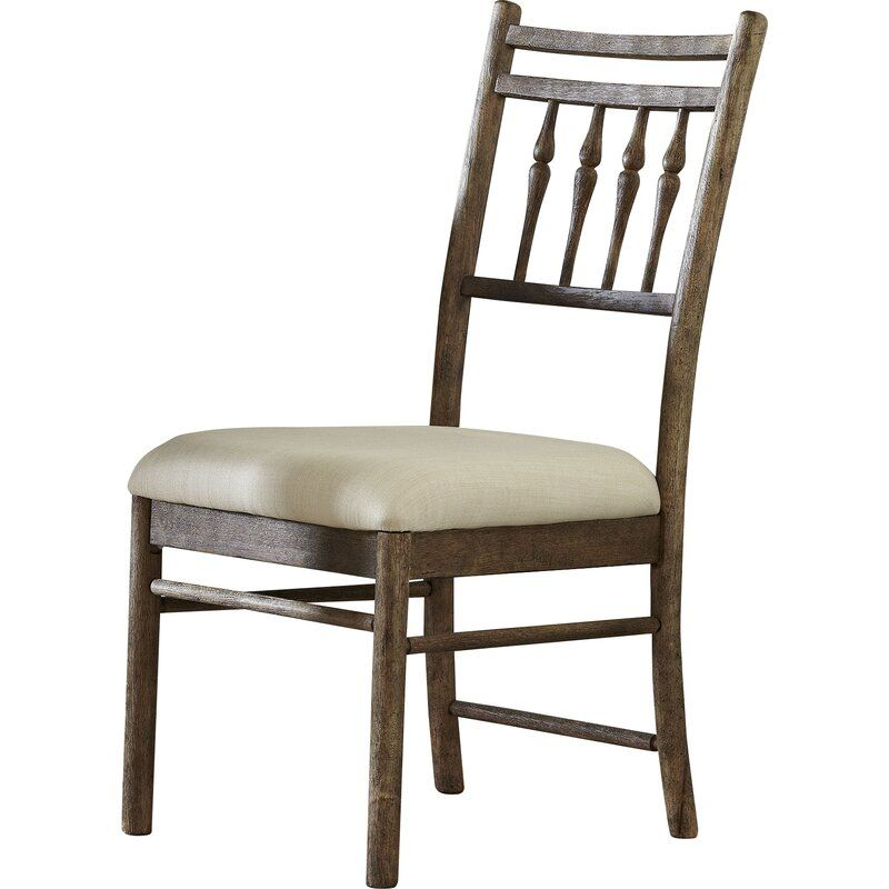 Amaia Upholstered Slat Back Side Chair In Brown Cream Side Chairs Upholstered Dining Chairs Chair