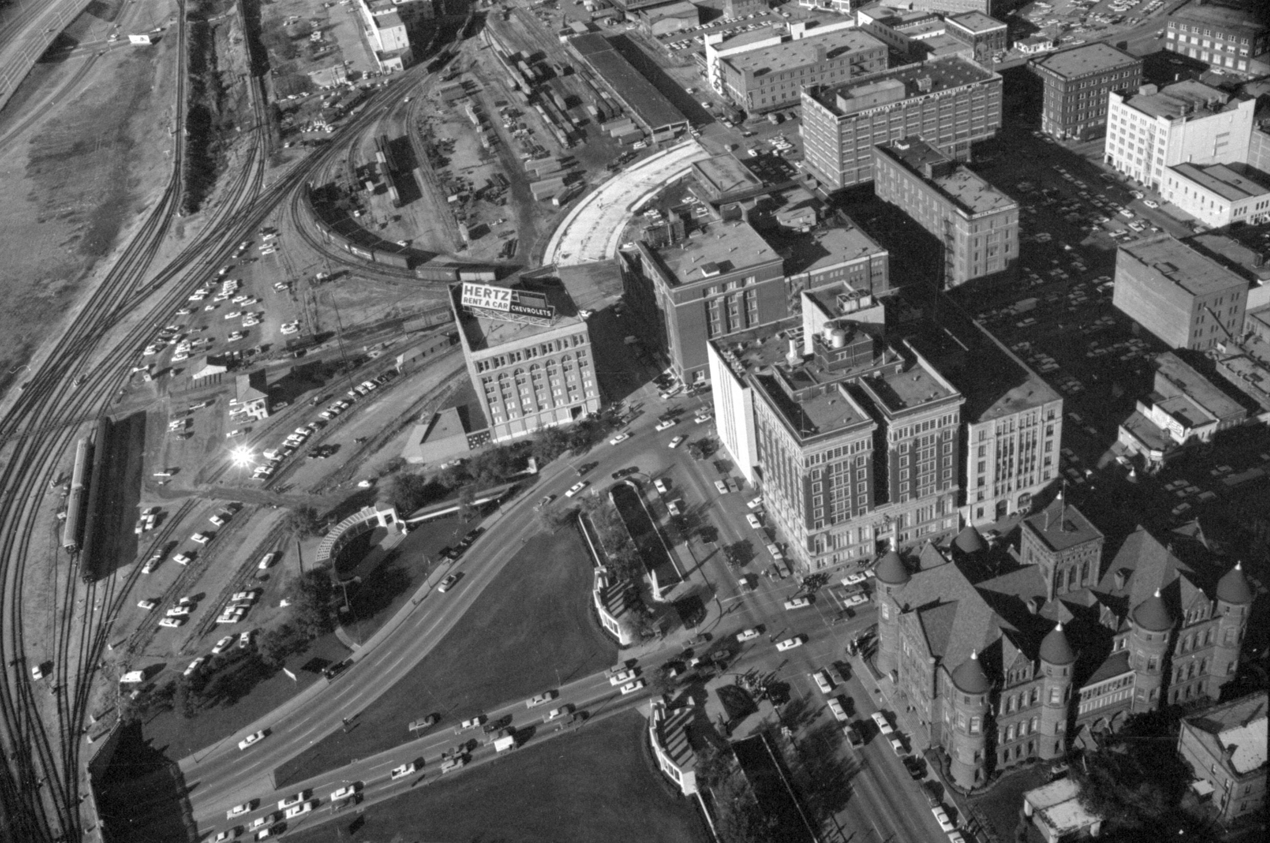 Aerial view of site of pres kennedys assassination elm
