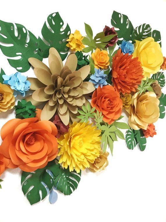Safari Paper Flowers - Jungle Paper Flowers Backdrop - Safari Paper ...