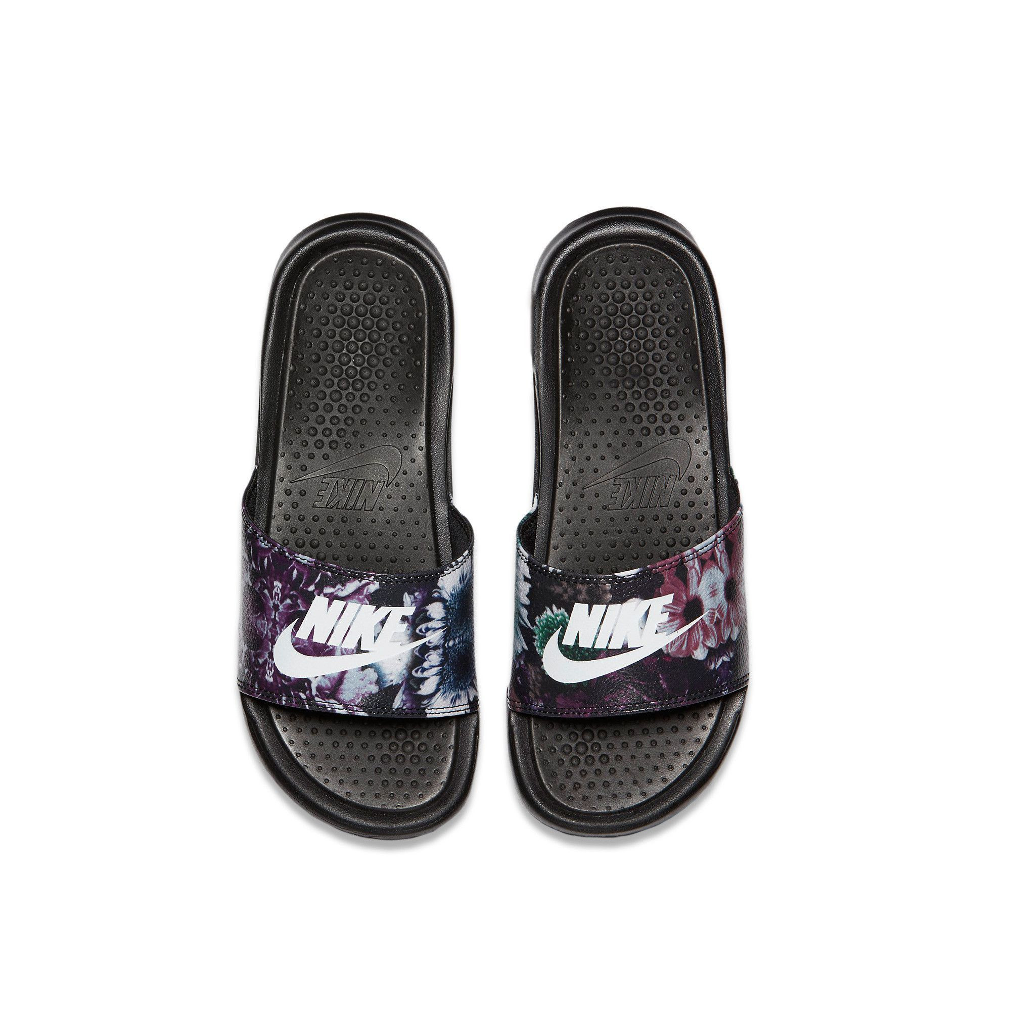 New Womens Nike Benassi JDI Print Slide Sandals goddess of get flowers White/wathet