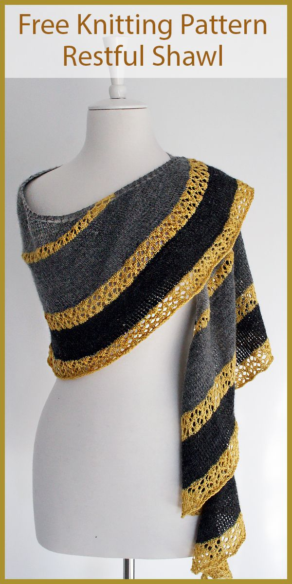 Free Knitting Pattern for Restful Shawl  #knittingpatterns