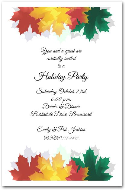 Colorful Autumn Leaves Fall and Autumn Fall party invitations