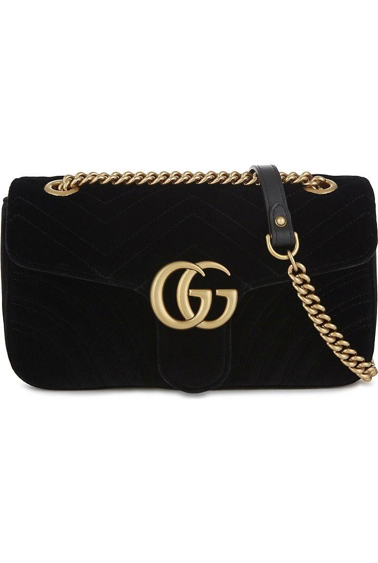 cd2a2cdb0e9fb6 GUCCI - GG Marmont small velvet shoulder bag | Selfridges.com