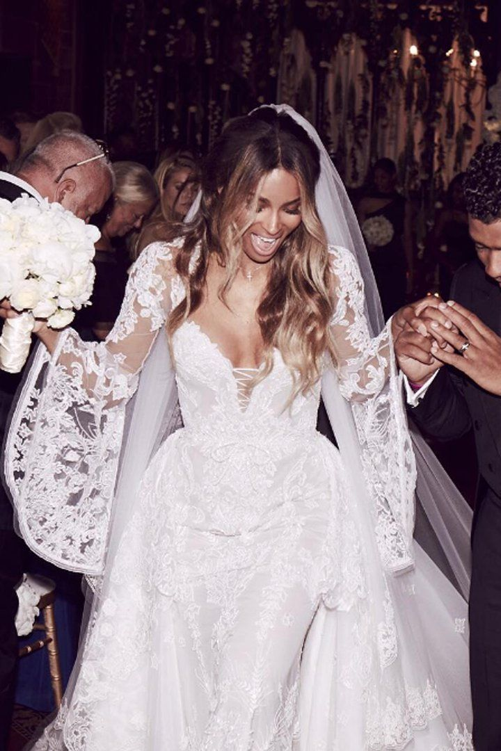 Prepare To Hyperventilate Over Ciara S Lace Up Bell Sleeved Wedding Gown Celebrity Wedding Dresses Wedding Dresses Pretty Wedding Dresses