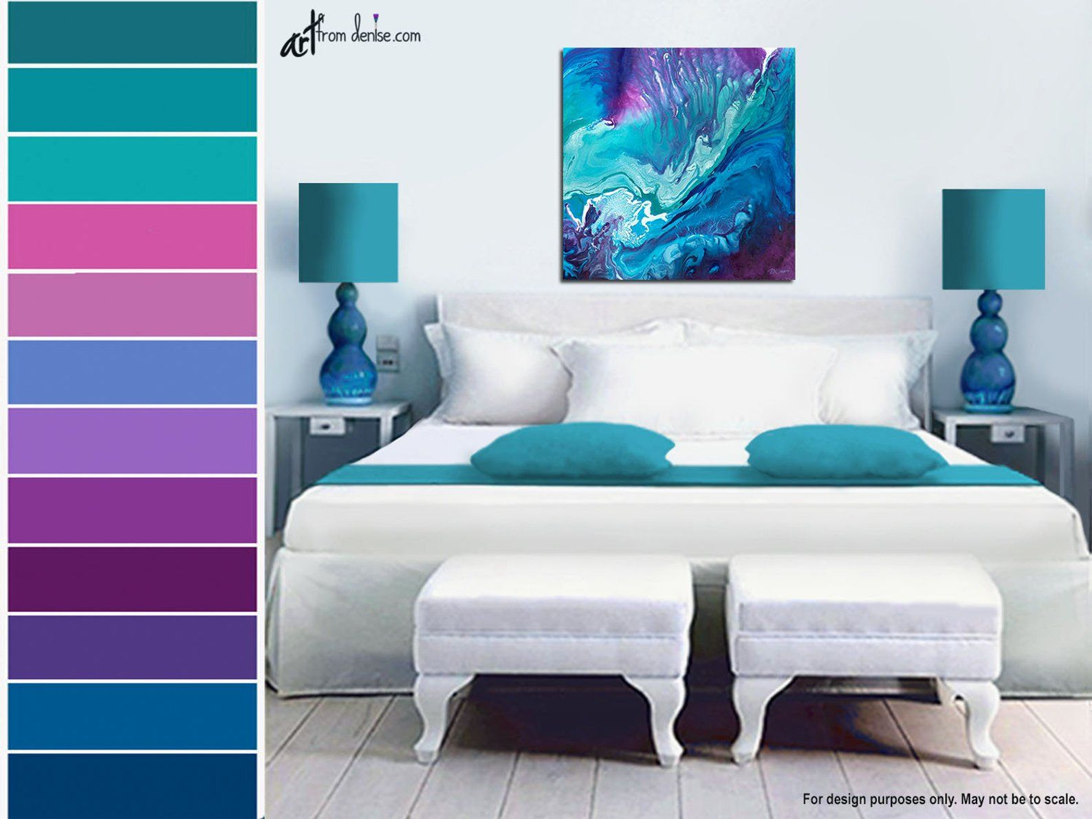 Large Abstract Canvas Wall Art Teal Purple Blue Wall Etsy Blue Walls Living Room Room Colors Master Bedroom Wall Art