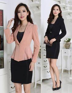 c414f06f6b Barato Nova moda Slim Blazers Femininos Plus Size 4XL outono inverno  jaquetas e saia escritório das