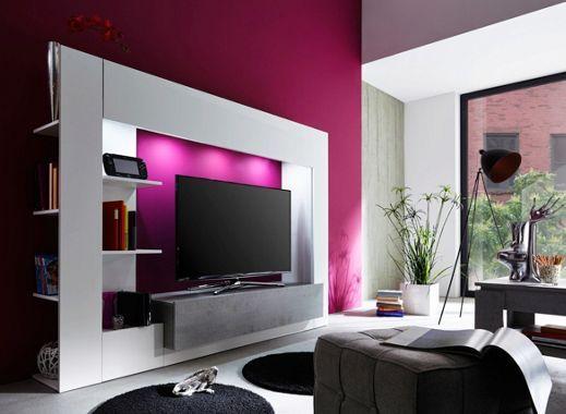 wohnwand mit tv element in beton optik hochmodernes design wohnw nde pinterest. Black Bedroom Furniture Sets. Home Design Ideas