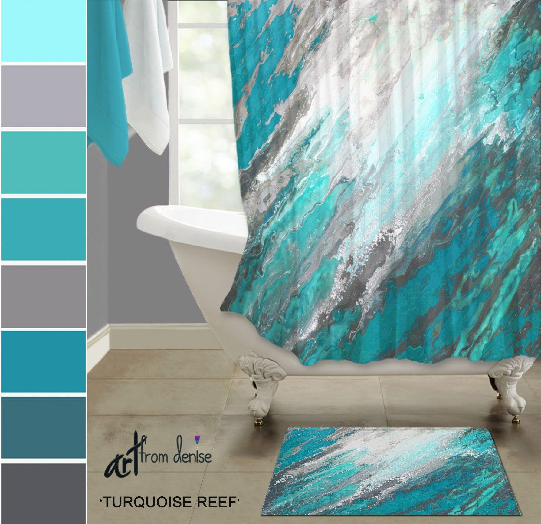 Gray And Teal Shower Curtain And Bath Rug Sets Modern Turquoise