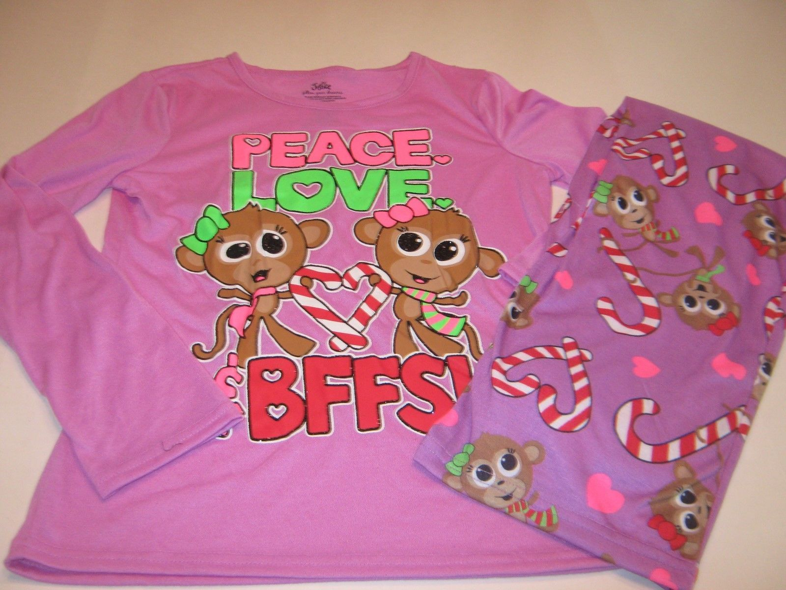 Justice Girls 2 PC Purple Monkey Peace Love Holiday Christmas ...