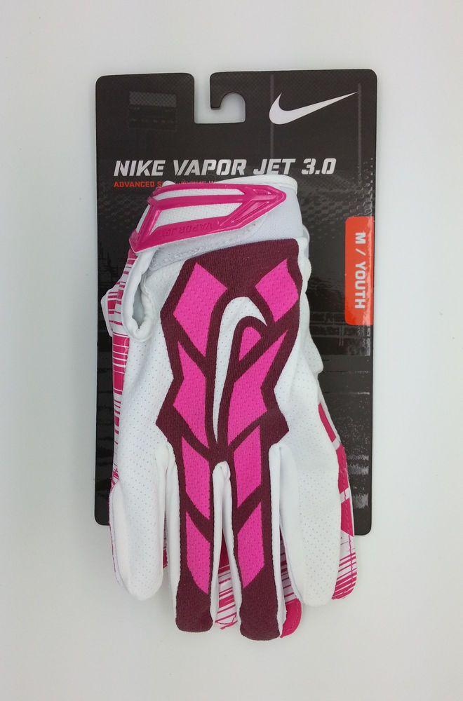 Nike Vapor Jet 3 0 Pink Youth Football Lock Up Gloves Pair Youth Medium New Nike Vapor Youth Football Football