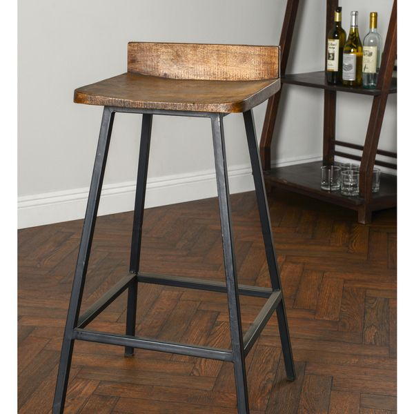 Kosas Home Handcrafted Pennie Mahogany Mango And Black Iron Counter Stool 17857709