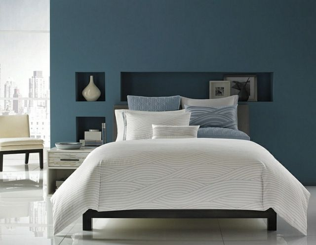 Déco intérieur - blanc et bleu, combinaison classique | Lit gris ...