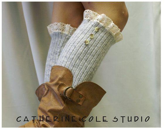 lace legwarmers HEAVENLY Heather Grey knit by LaceBootSocksbyCCole
