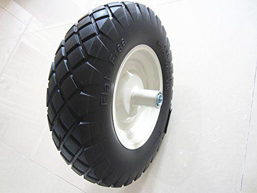 Kunhua 16pubfk20 4804008inch Flat Free Wheelbarrow Tire With Knobby Tread 6inch Hub 34inch Ball Bearings 155inch Tire Dia Wheelbarrow Tires Wheelbarrow Tire