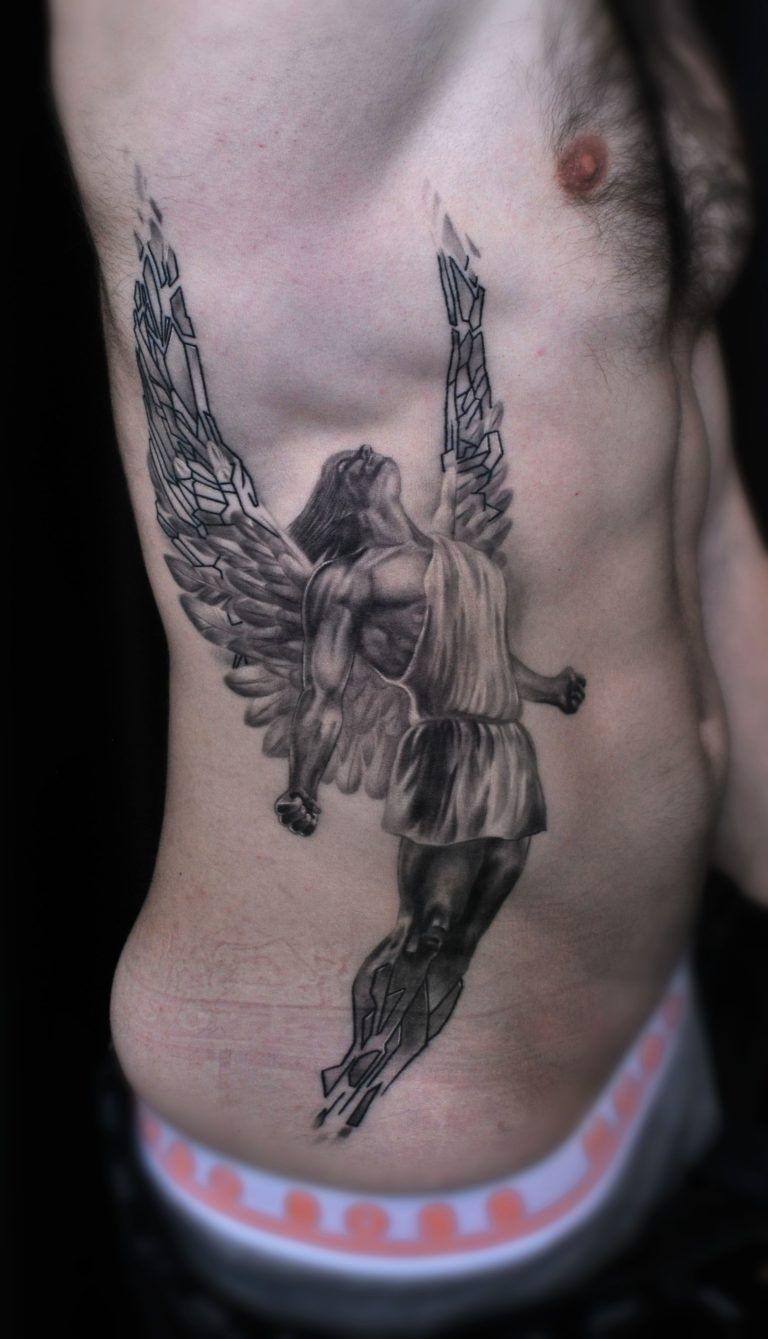 Tatuajes De Angeles Para Hombres Tatuajes De Angel Para Hombres Tatuajes Chiquitos Tatuajes Laterales Para Hombres