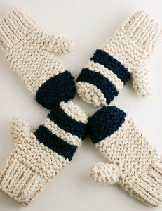 Thick Garter Stitch Mitts, free