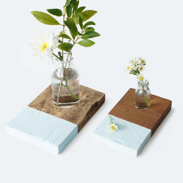 Vase avec base en bois flower vase - Chic Place