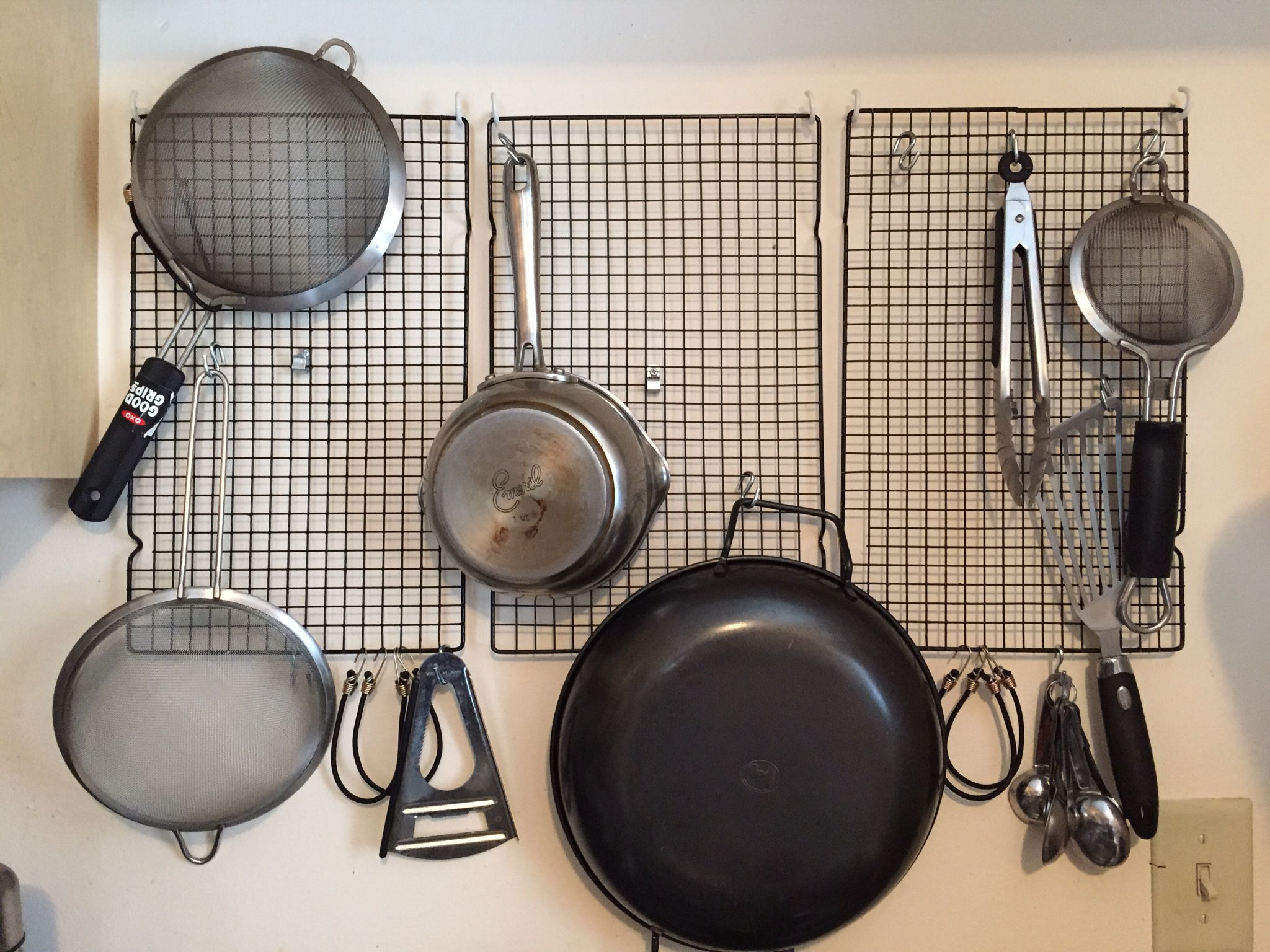 Diy Kitchen Storage I Used Cooling Racks And S Hooks From