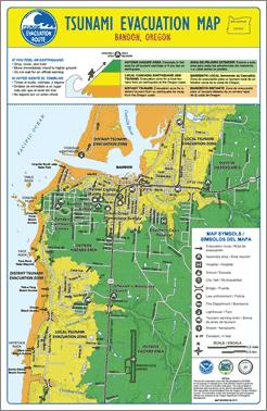 Bandon Dunes Oregon Map.Bandon Oregon Tsunami Evacuation Brochure Map Side Misc In 2019