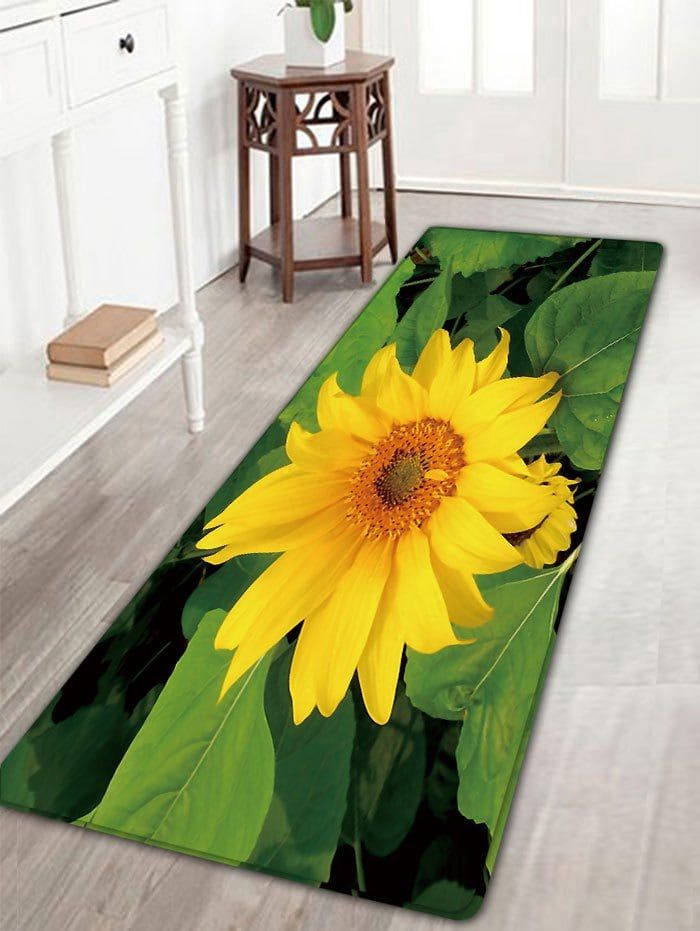 Sunflower Printed Skidproof Flannel Bath Rug