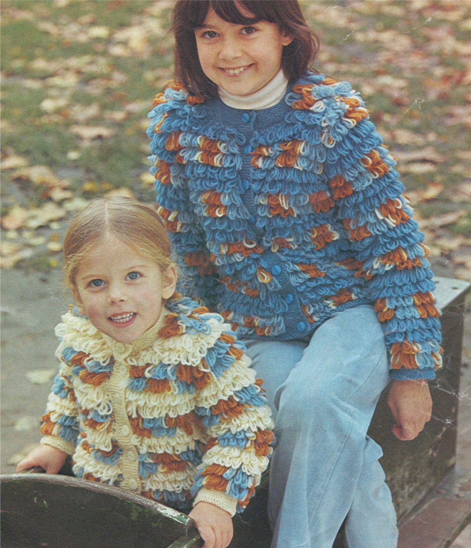 Girls Loopy Jacket / Cardigan Knitting Pattern : Childrens ...