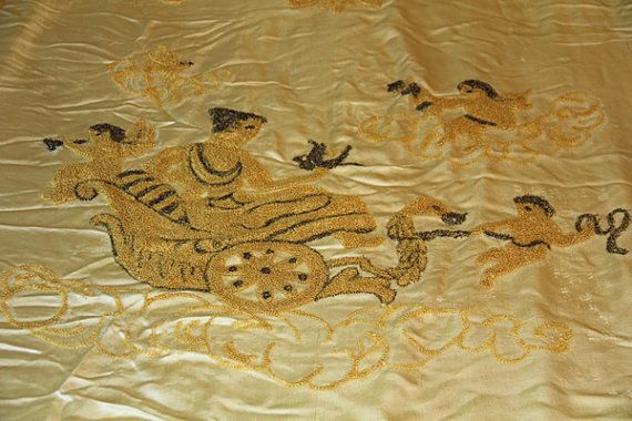 Vintage Bedspread King/Queen size with Cherubs and Gold Fringe.  Hollywood Chic on Etsy, $95.00