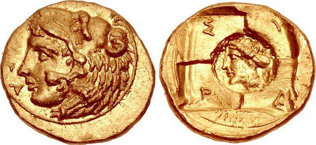 An Exceptional Greek Gold 20 Litrai-Tetradrachm of Syracuse (Sicily), Struck Under Dionysios I |