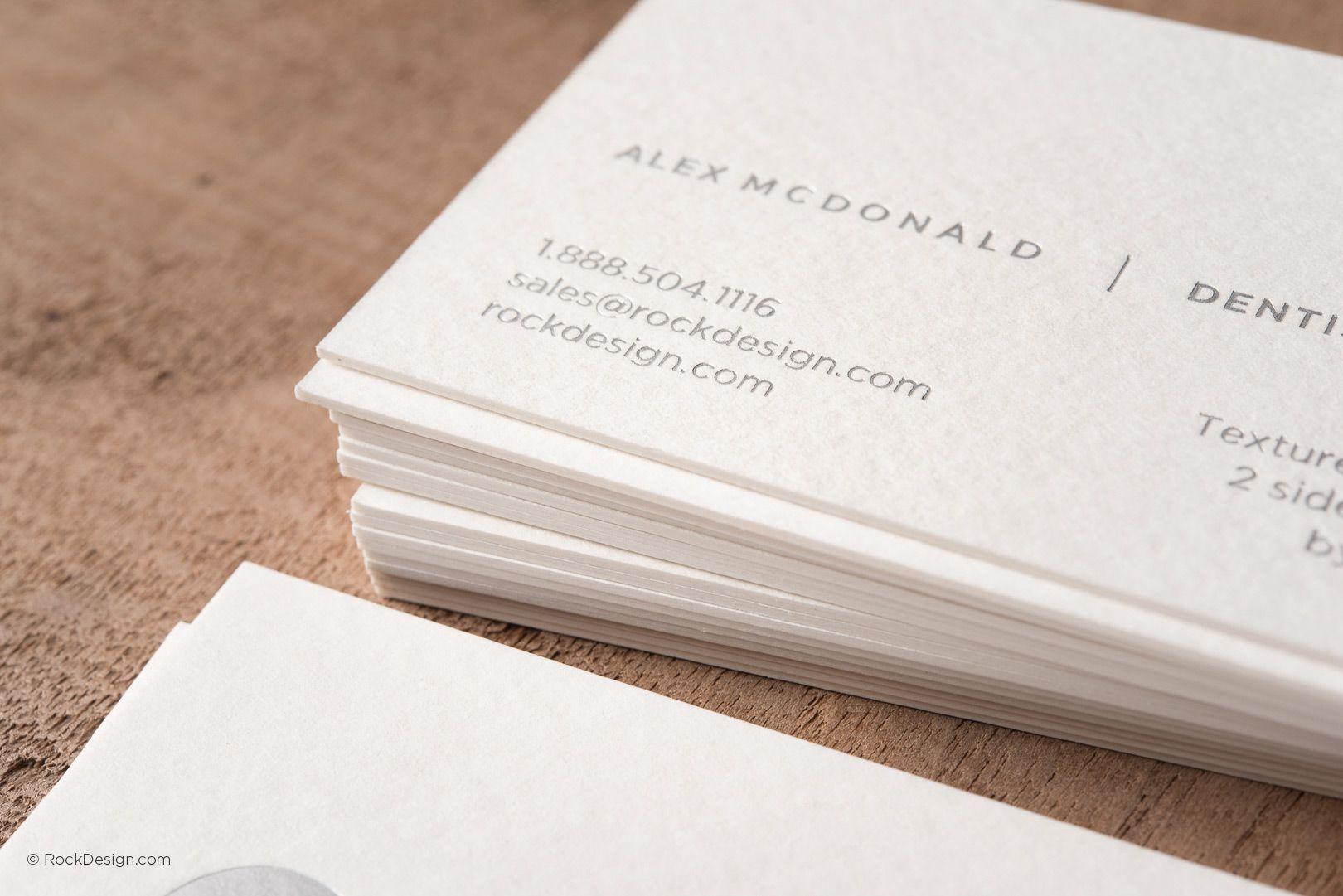 Modern minimalist textured cream business card with silver foil modern minimalist textured cream business card with silver foil mcdonald dental rockdesign luxury business reheart Images