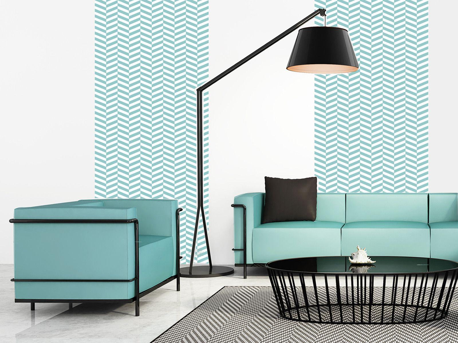 chevrons lagon papier peint autocollant repositionnable. Black Bedroom Furniture Sets. Home Design Ideas