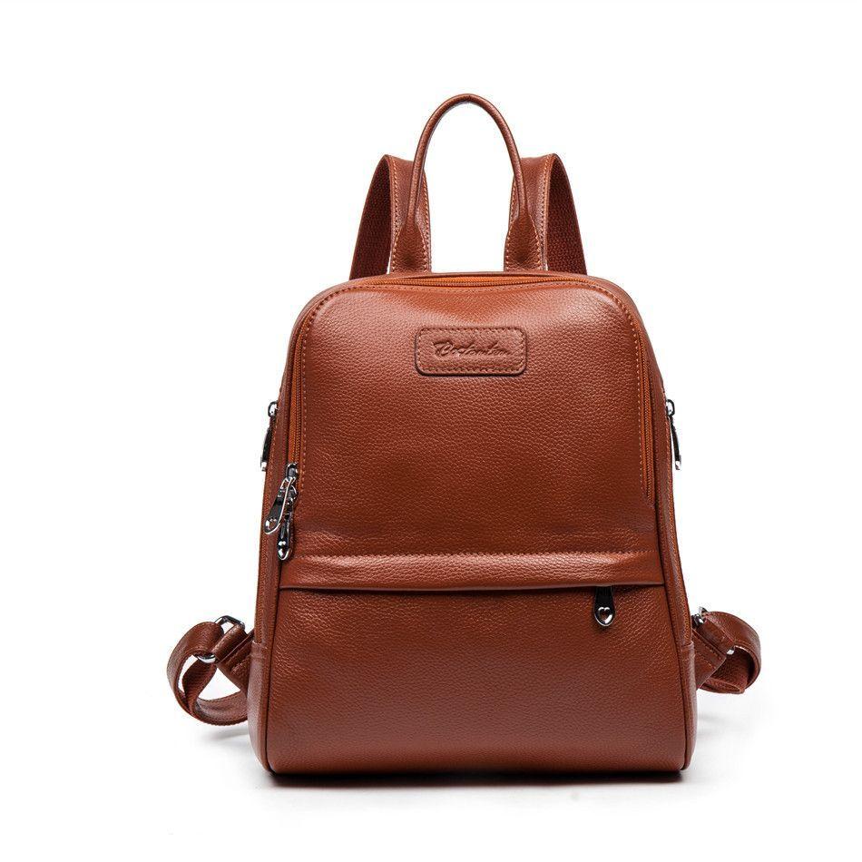 Bostanten Fashion Genuine Leather Backpack Women Bags Preppy Style Backpack  Girls School Bags Zipper Shoulder Women s Back Pack 3cc308807208c