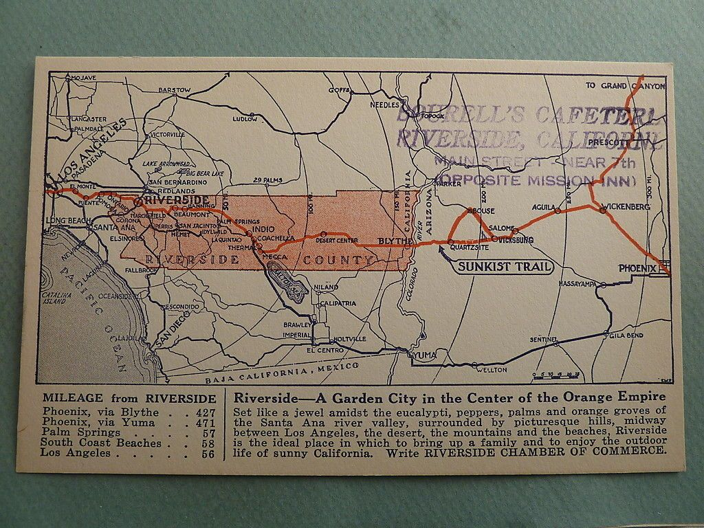 Vintage Map Of Riverside Ca In The Orange Empire From
