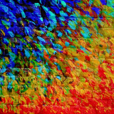 COLLISION COURSE - Bold Rainbow Splash Bricks Urban Jungle Ocean Waves Nature City Acrylic Painting Art Print