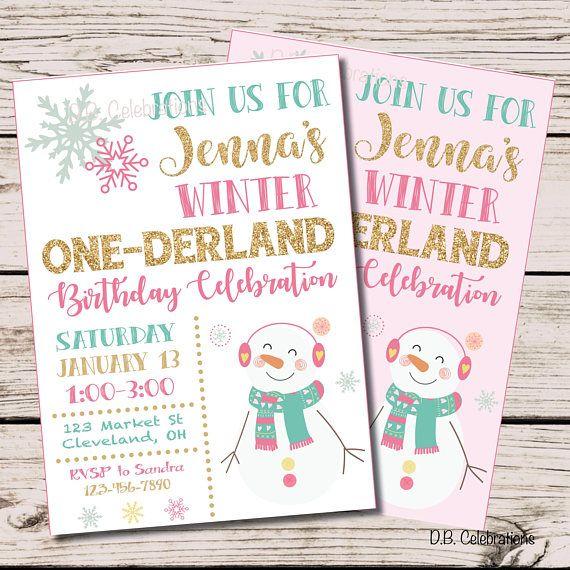 Snowman Birthday Invitation Winter Wonderland Birthday First
