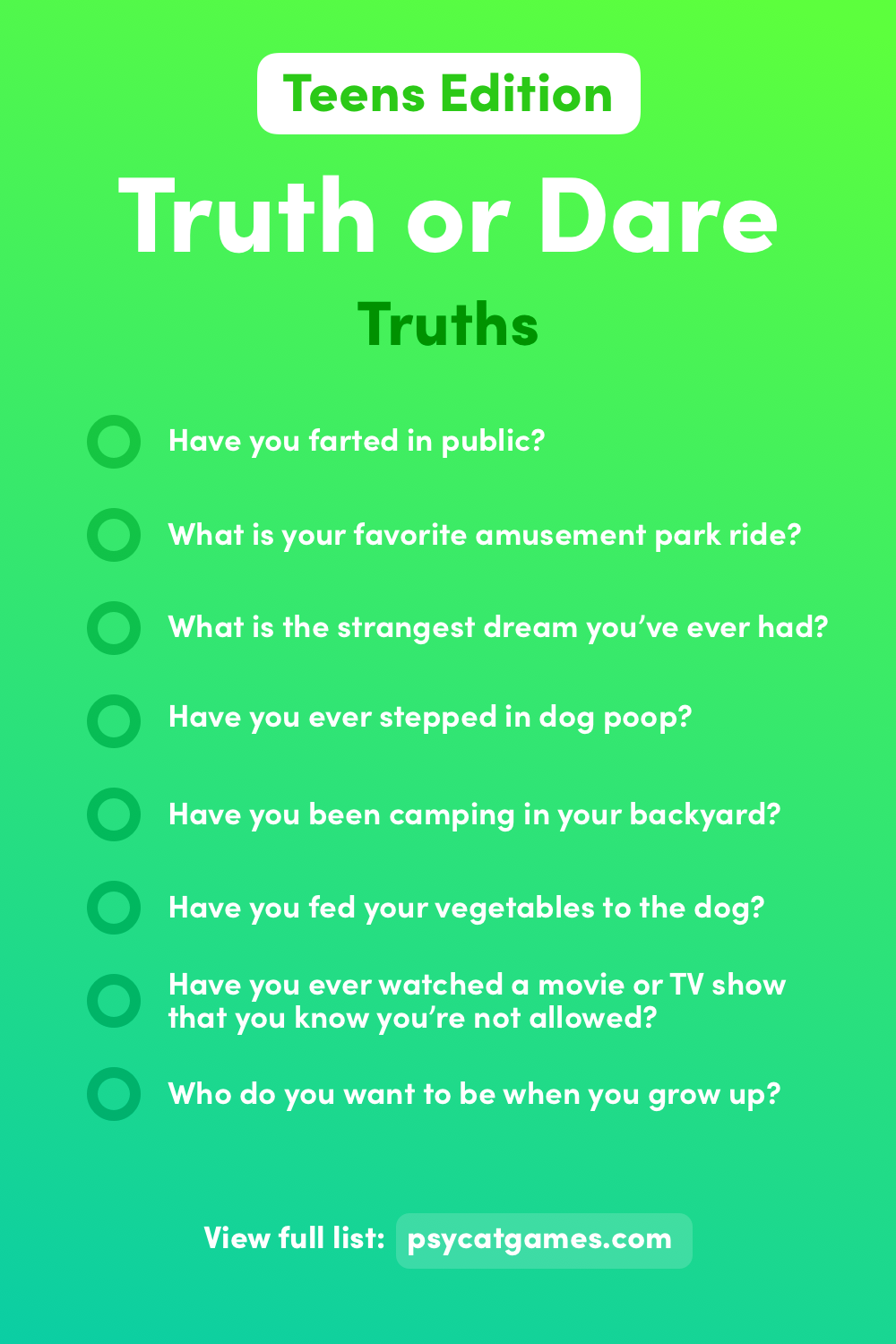 Truth or Dare Questions for Teens