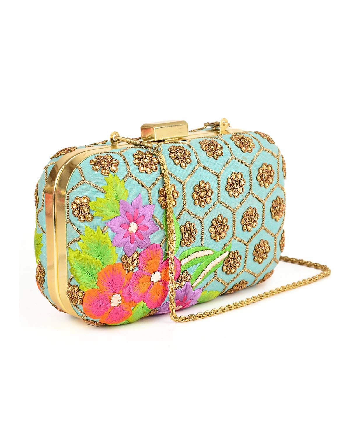 Sky Blue Box Clutch with Golden Sequins_ Karieshma Sarnaa